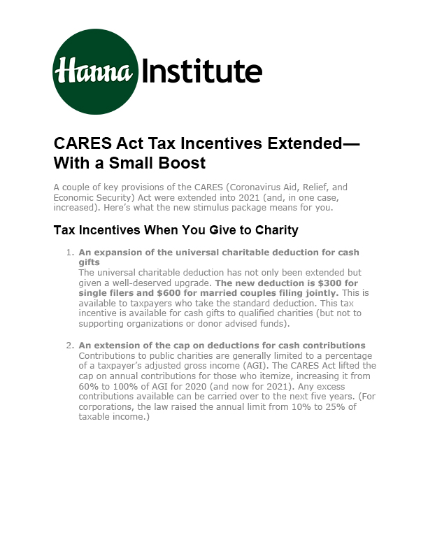 CARES Act Tax Incentives Extended to 2021[6]